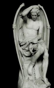 Le génie du mal, de Guillaume Geefs (1848). Reacția vecină cu venerația pe care o trezea (și încă o trezeste) în oameni aceast diavol încătușat, ținându-și parcă resemnat coroana în mână, i-a făcut pe mai marii bisericii în care era plasat să ceară mutarea sa imediată.