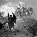 Ilustrație de Gustave Doré din Paradisul Pierdut (c.1866). Lucifer și ceilalți îngeri se deosebesc doar prin aripi. Personajul nonconformist este alungat.